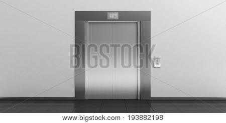 Elevator With Closed Doors. 3D Illustration