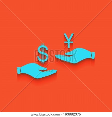 Currency exchange from hand to hand. Dollar and Yuan. Vector. Whitish icon on brick wall as background.