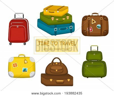 Set of various  travel bags suitcases with stickers on isolated white background. Summer travel handle luggage. Traveling equipment. Flat vector icon illustration.
