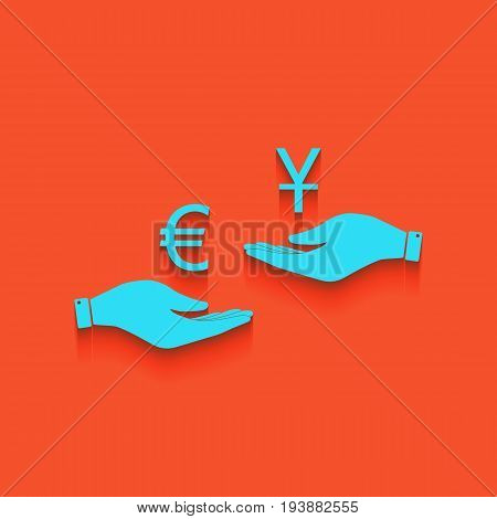 Currency exchange from hand to hand. Euro and Yuan. Vector. Whitish icon on brick wall as background.