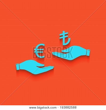 Currency exchange from hand to hand. Euro and Lira. Vector. Whitish icon on brick wall as background.