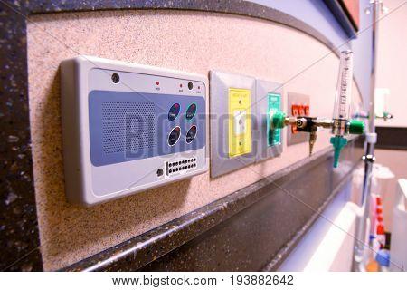 Intercom on a hospital wall