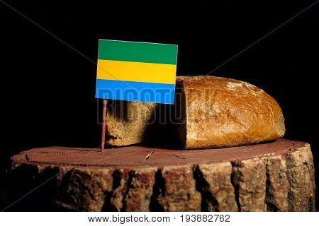 Gabon Flag On A Stump With Bread Isolated