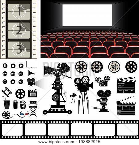 vecor set of the cinema theme illustration