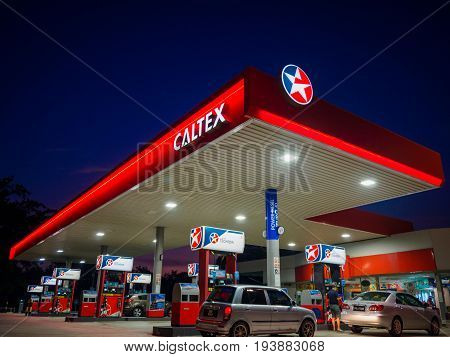 Kedah Malaysia - June 9 2017: Caltex gas station blue sky background during sunset. Caltex is a petroleum brand name of Chevron Corporation used in more than 60 countries.