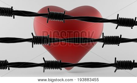 3d illustration Red heart and black Barbed Wire