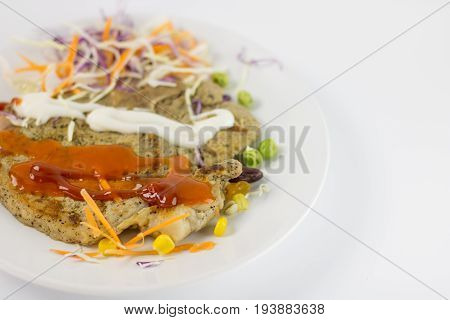 Delicious Grilled Steak With Peanut , Garden Pea, Corn , Carrot , Cabbage With Mayonnaise Chilli And