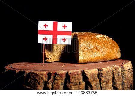 Georgian Flag On A Stump With Bread Isolated