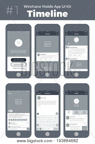 Wireframe UI kit for mobile phone. Mobile App Timeline. Feed, post, comment, sign up, profile and menu screens