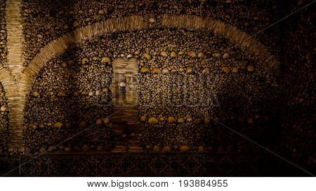 Interior of Chapel of the Bones 18-09-2015 Evora Portugal