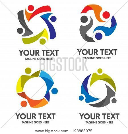 Simple concept for colorful community people logo. abstract People community logo set
