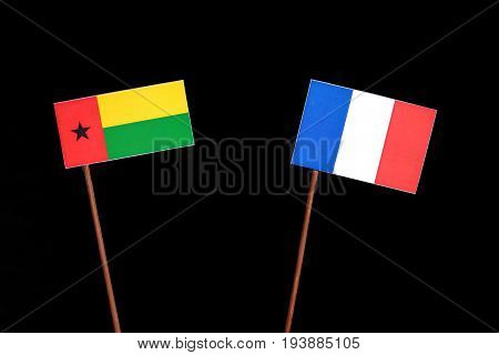 Guinea Bissau Flag With French Flag Isolated On Black Background