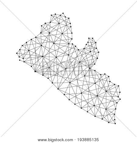 Map of Liberia from polygonal black lines and dots of vector illustration