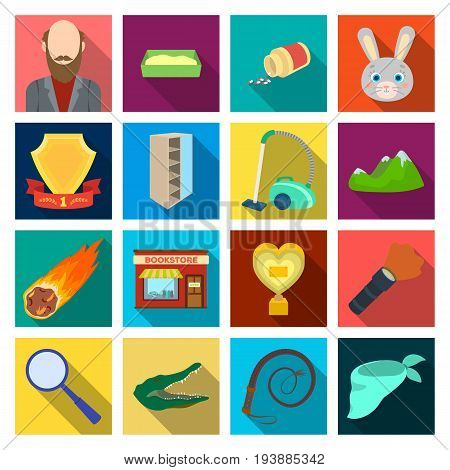 , travel, hobby, education and other  icon in flat style.magnifier, crocodile, beast icons in set collection