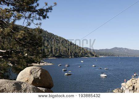 LOS ANGELES - JUL 1:  Big Bear Lake at the Scenic view at the BIg Bear Lake on July 1, 2017 in Big Bear, CA