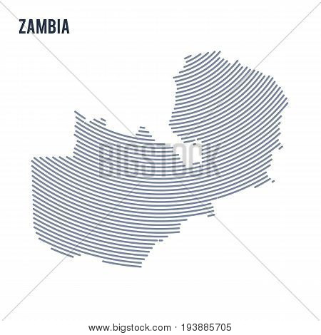 Vector Abstract Hatched Map Of Zambia With Curve Lines Isolated On A White Background.