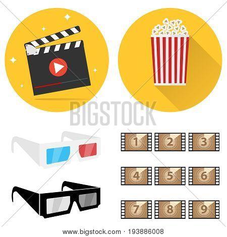 Production of film film 3D glasses popcorn. Shooting a movie. Flat design vector illustration vector.