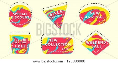 Set of flat vector geometrical vintage warm color banners. Spilled dye texture. Promotion concept. Vector illustration.