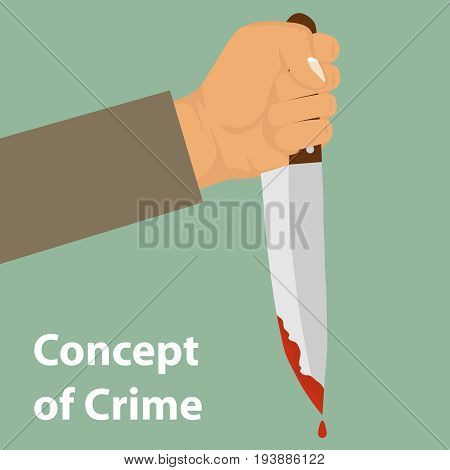 A knife with blood in his hand. The concept of crime. Drops of blood drain from the knife. Flat design vector illustration vector.
