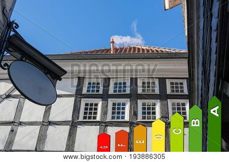 View facade of a timbered house in Germany. In the foreground symbol of energy efficiency classes.