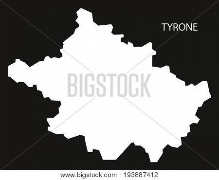 Tyrone Northern Ireland Map Black Inverted Silhouette Illustration
