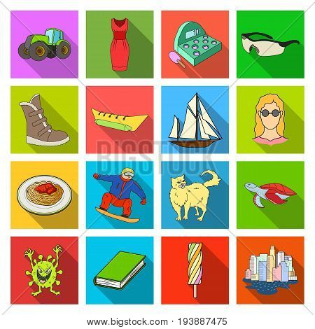 business, restaurant, hygiene and other  icon in flat style., tourism, recreation, sport icons in set collection