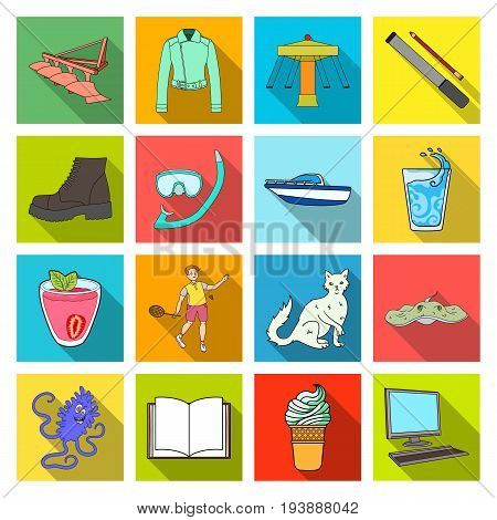 desserts, monitor, keyboard and other  icon in flat style. horn, ice cream icons in set collection.,
