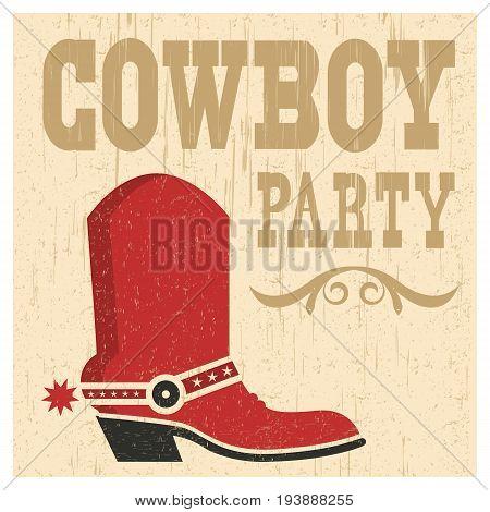 Cowboy Party Card Illustration