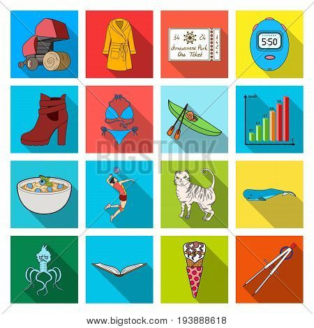 textiles, hygiene, medicine and other  icon in flat style. entertainment, recreation, tourism, icons in set collection