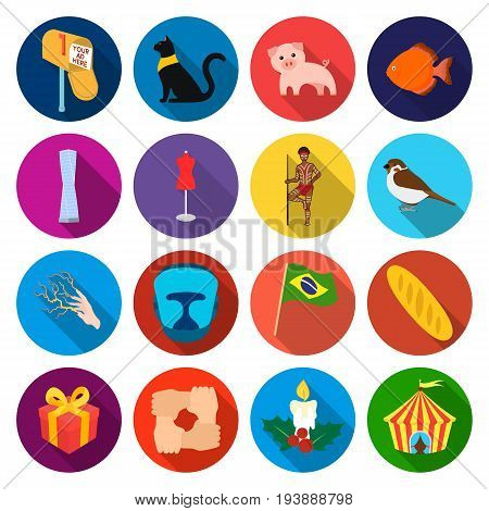 tourism, phenomenon, business and other  icon in flat style., rest, hobby, textiles icons in set collection