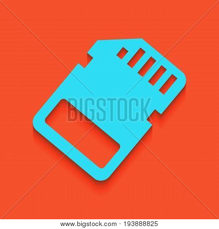 Memory card sign. Vector. Whitish icon on brick wall as background.