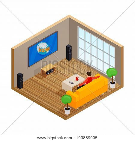 Man watching TV and drinking coffee on sofa in home room interior vector illustration. Man on sofa watch tv, vector isometric illustration of male in room with tv screen