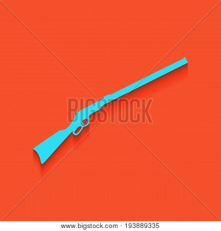Hunting rifle icon vector illustration. Silhouette gun. Vector. Whitish icon on brick wall as background.