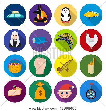 leisure, business, entertainment and other  icon in flat style. travel, tourism, textiles, icons in set collection