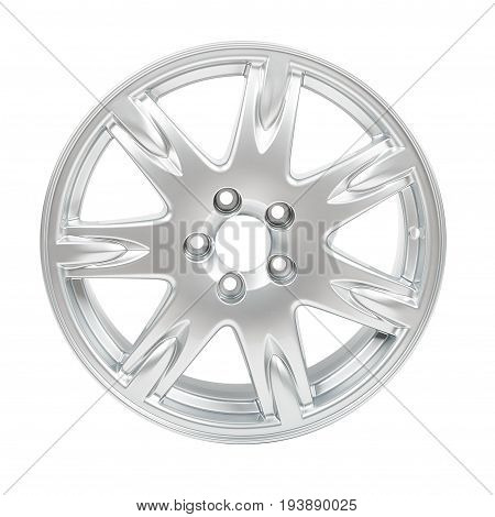 Car alloy wheel isolated on white background