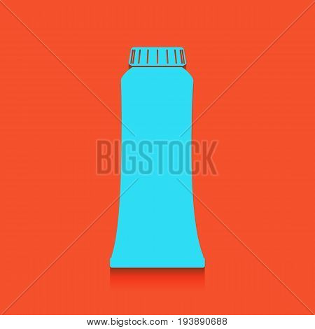 Toothpaste tube sign illustration. Vector. Whitish icon on brick wall as background.