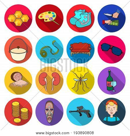 textile, arts, entertainment and other  icon in flat style.tourism, medicine, business, icons in set collection