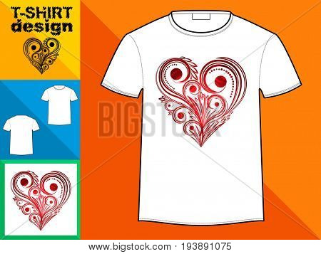 Template T-shirt with an trendy design: floral red heart.