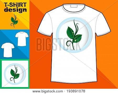 Template T-shirt with an trendy design: a green sprout with drops of dew. Ecological emblem.