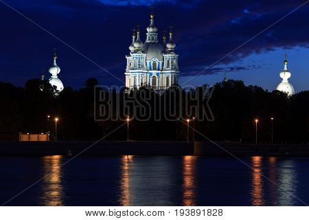 View of the Smolny Cathedral to the promenade night,  Saint-Petersburg