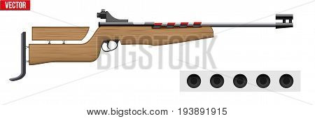 Classic Biathlon rifle with cartridges and target. Sporting equipment for winter games. Vector Illustration isolated on white background.