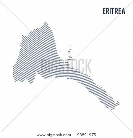 Vector Abstract Hatched Map Of Eritrea With Curve Lines Isolated On A White Background.