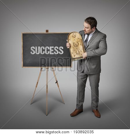 Success text on blackboard with businessman and abacus