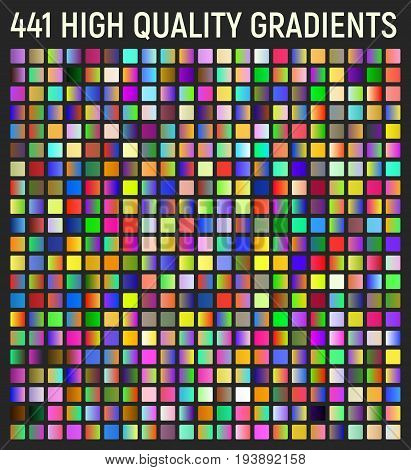 Set of 441 gradients. Vector color combinations ideas. Color swatches. Vector gradient for backgrounds.