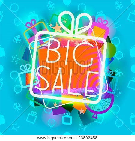 illustration of giftbox glowing big sale announcement on the blue seamless pattern background