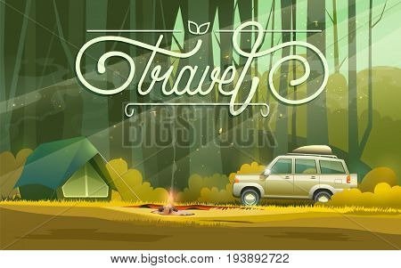 illustration of tent at bonfire and car parked in forest with travel word.
