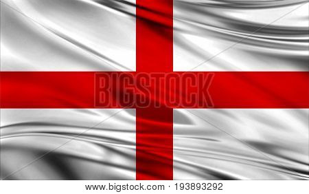 Realistic flag of Flag of England on the wavy surface of fabric. This flag can be used in design