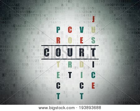 Law concept: Painted black word Court in solving Crossword Puzzle on Digital Data Paper background