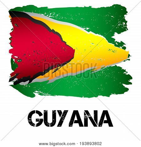 Flag of Guyana from brush strokes in grunge style isolated on white background. Country in South America. Vector illustration