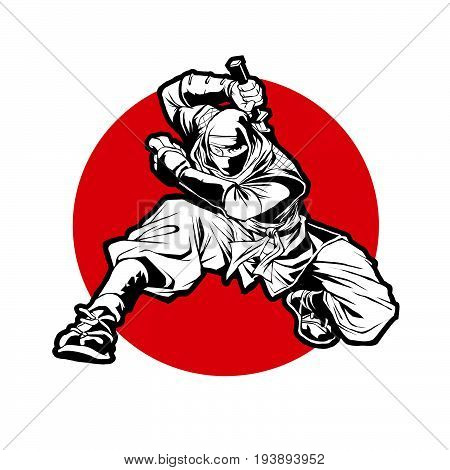 Japan Ninjas sport Logo concept. Katana weapon insignia design. Vintage ninja mascot badge. Martial art Team t-shirt illustration